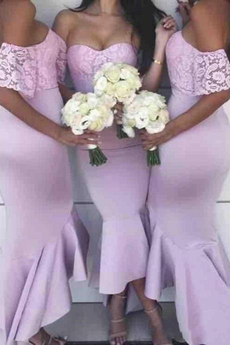 Sweetheart High Low Mermaid Maid of Honor Dress Zipper Back Wedding Party Gowns
