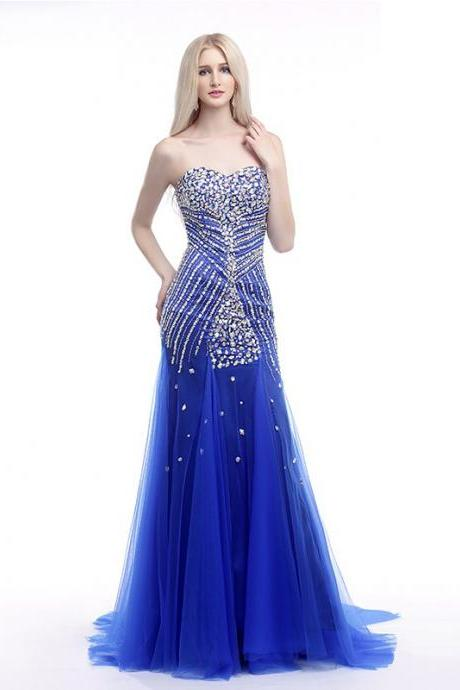 Royal Blue Crystals Sequins Beaded Prom Dresses A Line Sweetheart Lace Up Back Women Formal Party Dress Evening Gowns