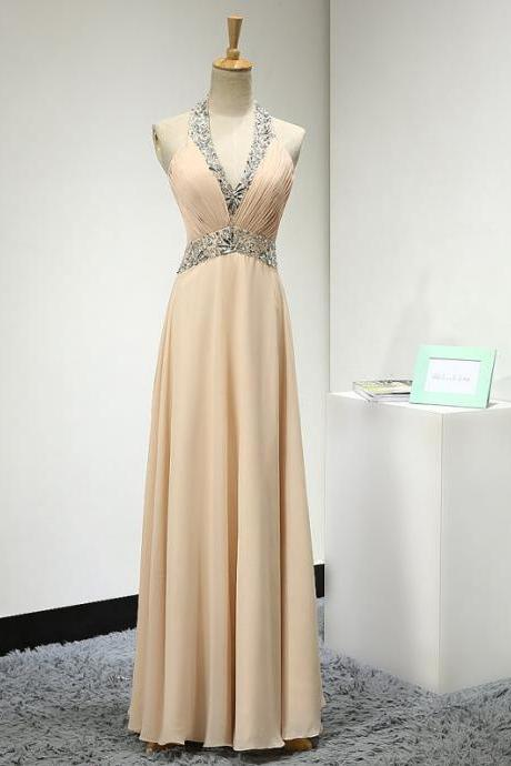 Halter Plunging V Beaded Ruched Chiffon A-line Floor-Length Prom Dress, Evening Dress