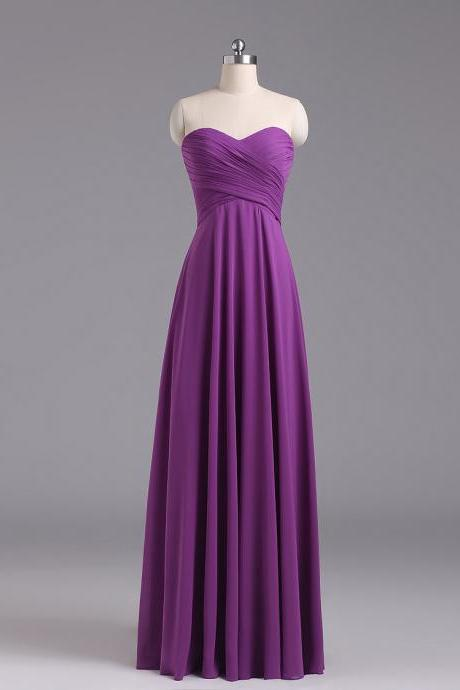 Purple Sweetheart Neckline Chiffon Floor Length Bridesmaid Dress