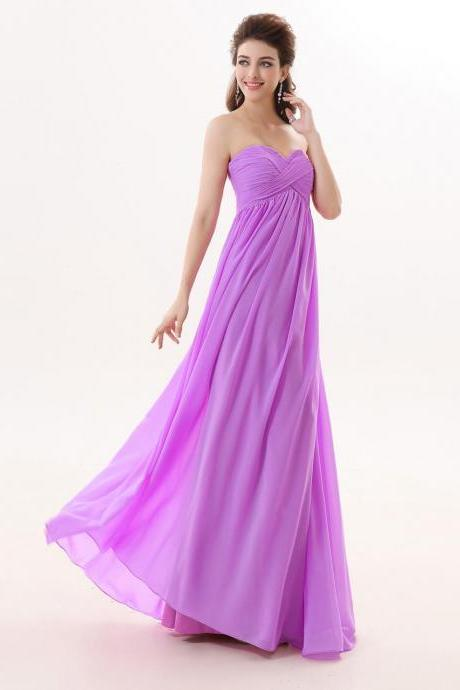 Light Purple Chiffon Bridesmaid Dress,Floor Length A Line Sweetheart Bridesmaid Dresses