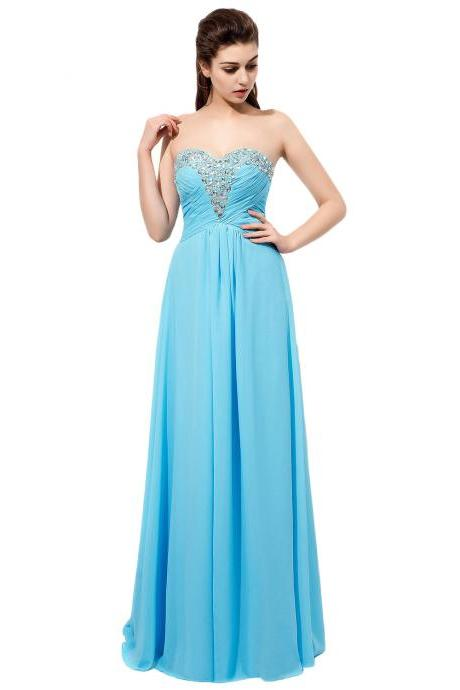Sparkly Long Light Blue Bridesmaid Dresses Rhinestones Beaded Sweetheart Neckline