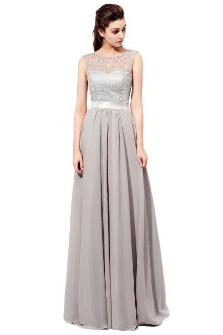 Floor Length Gray Bridesmaid Dresses Featuring Lace Sheer Bateau Neckline
