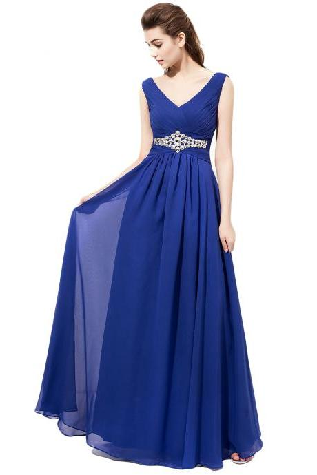 Brilliant Plunge V Royal Blue Chiffon Bridesmaid Dresses,Custom bridesmaid dress,
