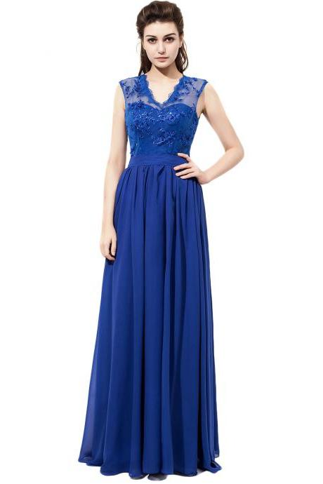 V Neck Royal Blue Chiffon Bridesmaid Dresses With Lace Bodice,