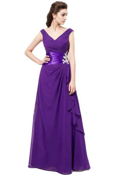 V Neck Purple Chiffon Bridesmaid Dresses With Ruched Bodice, Wedding Party Dresses