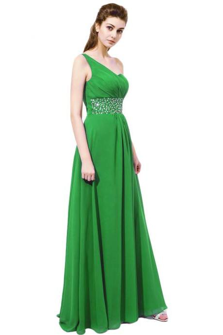 One Shoulder Green Chiffon Bridesmaid Dresses With Beaded Waistline