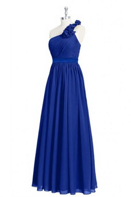 One Shoulder Royal Blue Bridesmaid Dresses, Beautiful Floor Length Bridesmaid Dresses