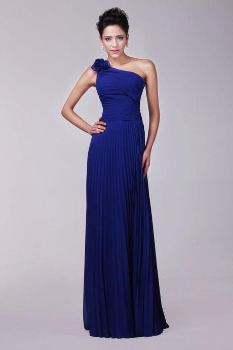 Long Blue One Shoulder Prom Dresses Sexy Lace-Up Evening Dresses