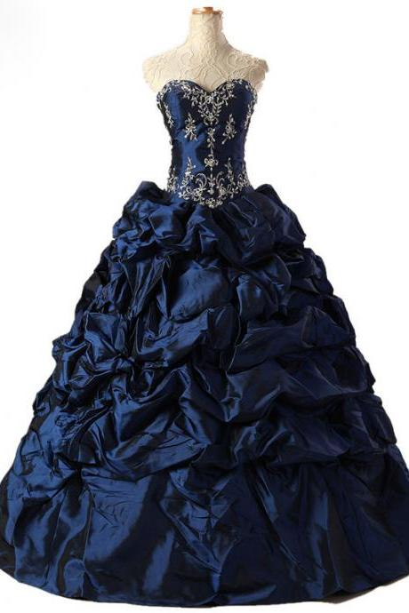 Navy Blue Beaded Evening Dresses Long Elegant Taffeta Prom Dress Robe De Soiree Formal Gowns