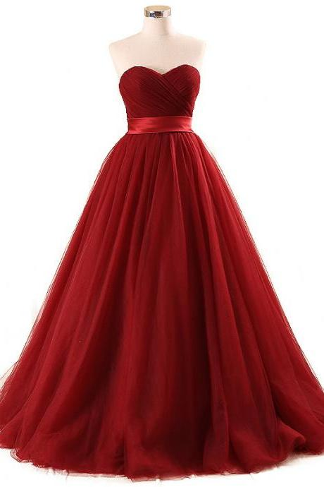 Burgundy Tulle Prom Dresses Featuring Sweetheart Neckline Formal Dress