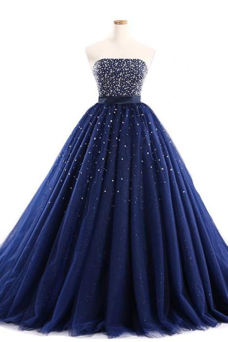 Navy Blue Ball Gown Prom Dresses Tulle Sweetheart Evening Gowns With Beaded Bodice
