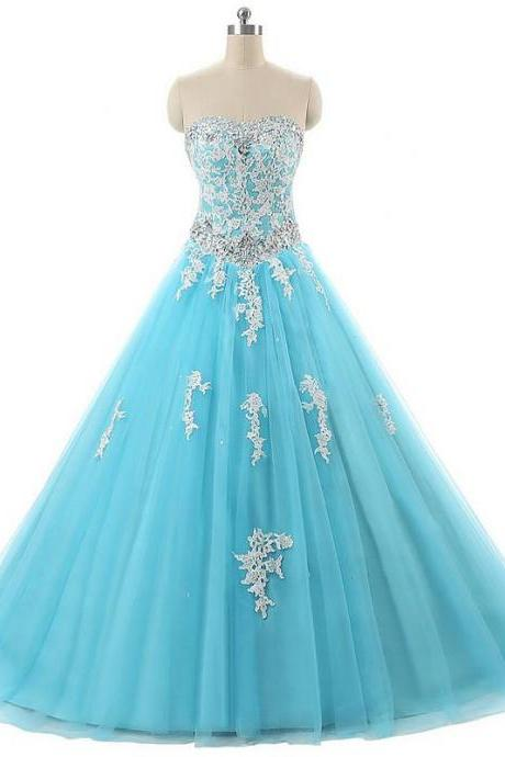 Light Blue Prom Dress,Ball Gown Prom Dresses,Long Elegant Prom Dress