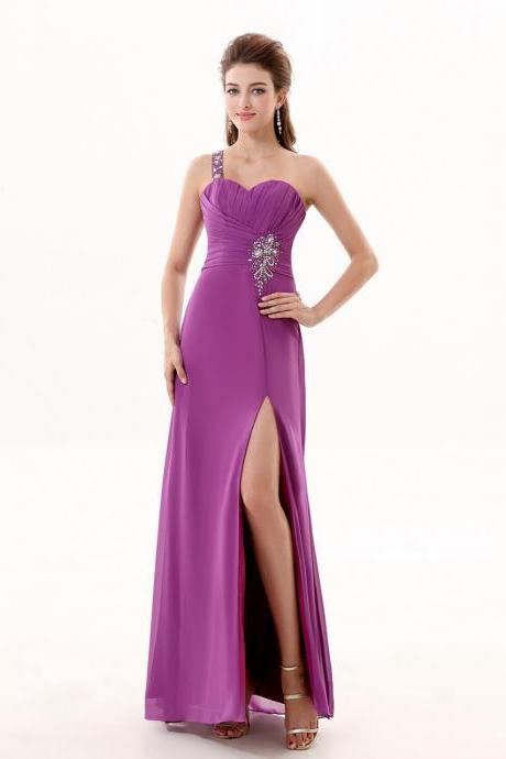 Chiffon Purple A Line Prom Gowns, One Shoulder Beaded Prom Dresses