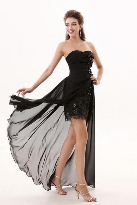 Black Sheath Prom Dresses Chiffon Sweetheart Evening Gowns With Flower And Pleats