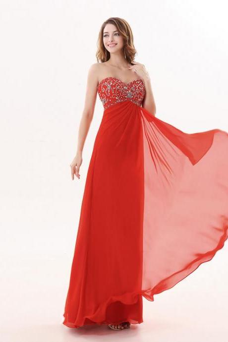 Red Long Sweetheart A Line Evening Dresses New Arrival Beaded Party Dress
