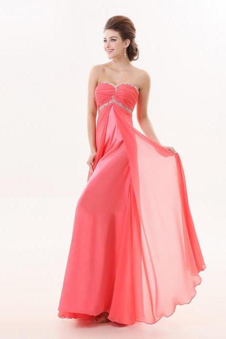 Watermelon Red Long Sweetheart A Line Evening Special Occasion Dresses Strapless Beaded