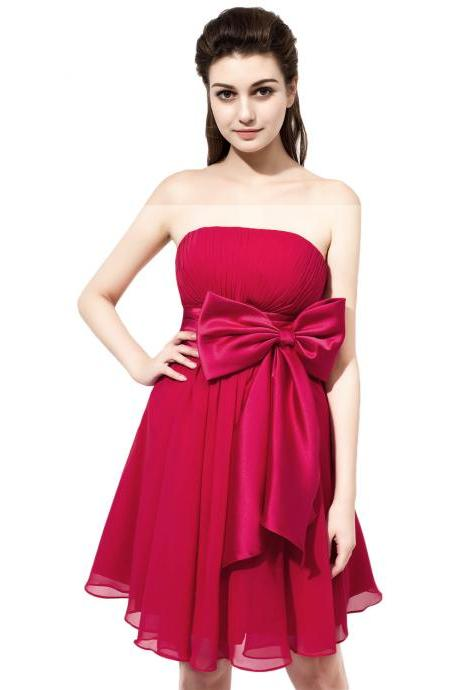 Short Chiffon Strapless Prom Dresses,Short Mini Burgundy Evening Gowns