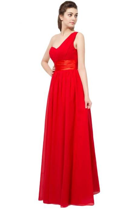 Red Prom Dresses Ruched One Shoulder Chiffon Formal Dresses