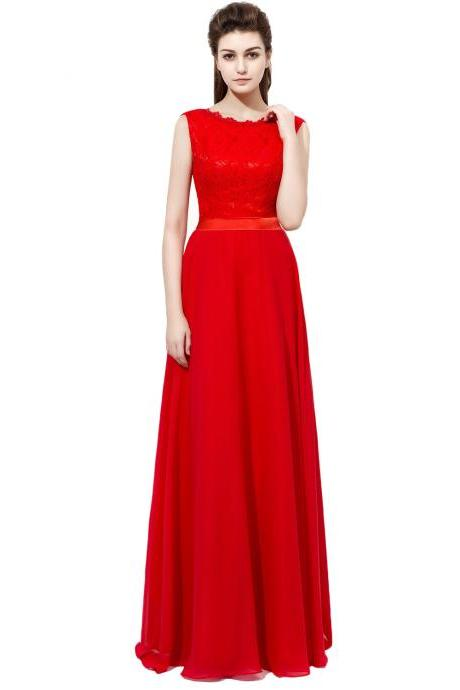 Red Prom Dresses Long Chiffon Formal Dresses With Lace Bodice And Belt