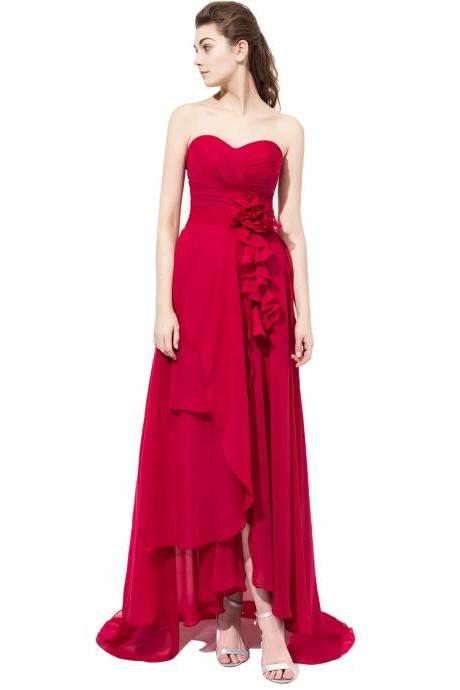 Burgundy High Low Prom Dresses Chiffon Formal Dresses With Ruched Bodice And Lace-up Back