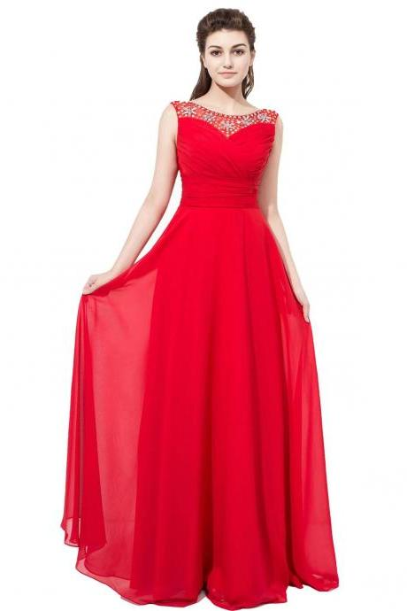 Red Chiffon Formal Dresses Featuring Beaded Bodice With Sheer Bateau Neckline Long Elegant Prom Dress