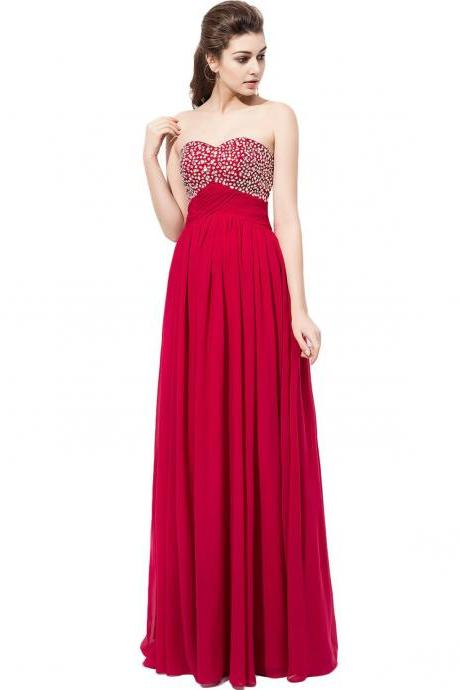Burgundy Chiffon Prom Dresses Featuring Beaded Sweetheart Neckline -- Long Elegant Prom Dress