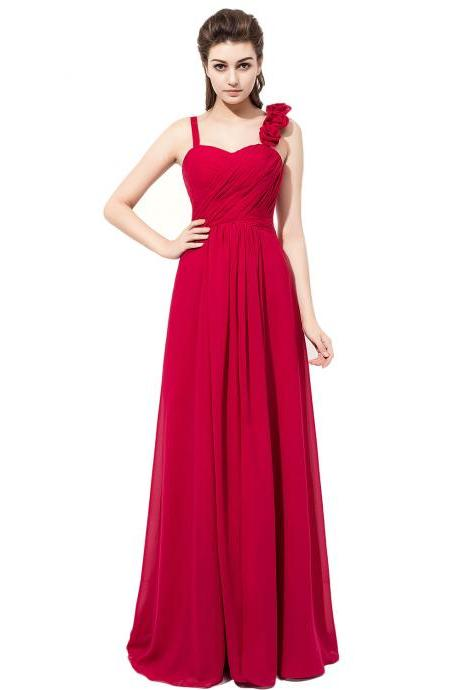 Burgundy Chiffon Prom Dresses Featuring Floral Spaghetti Straps -- Long Elegant Formal Dress