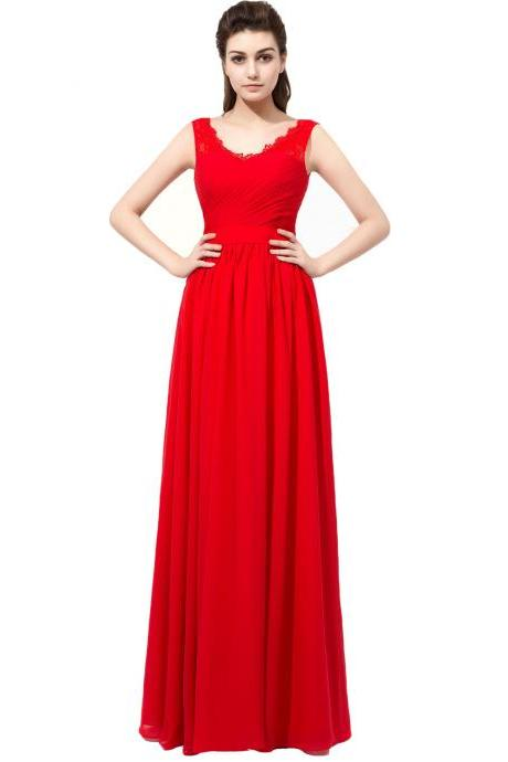 Red Strapless Chiffon Long Prom Dress With Lace V Neckline