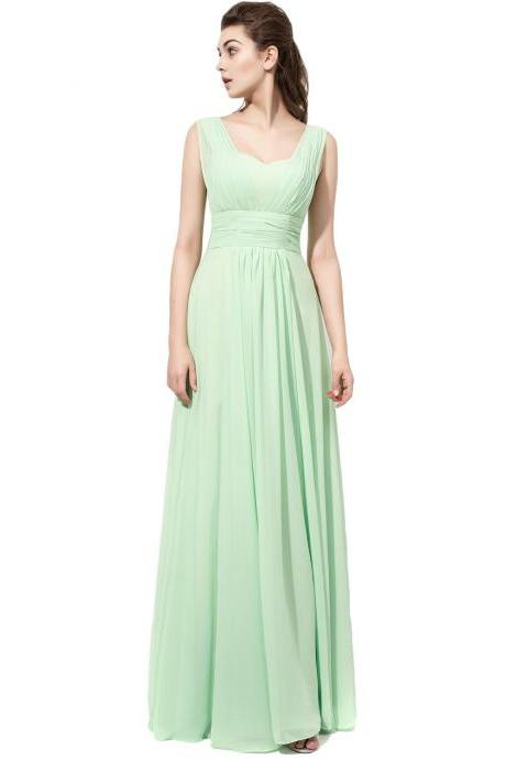 Sage Green Prom Dresses Ruched Strapless Chiffon Formal Dresses