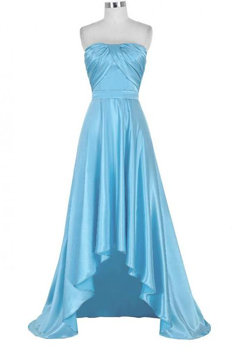 Blue Satin High Low A-Line Prom Dress Featuring Ruched Strapless Straight