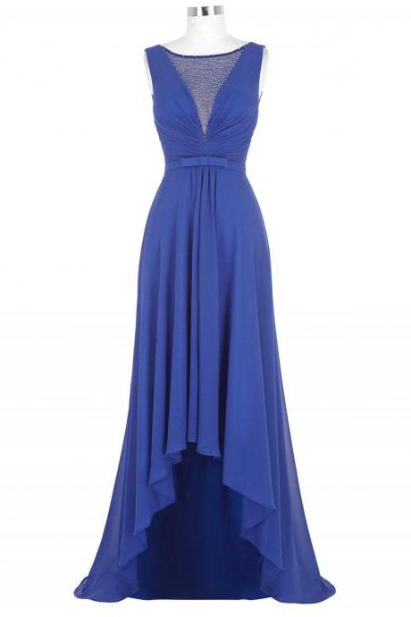 Chiffon High Low Sheath Pleated Prom Dress Featuring Plunge V Illusion Bodice with Beaded