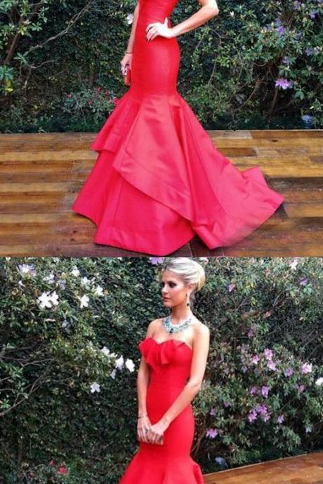 unique red trumpet party dresses, stunning evening gowns with ruffles