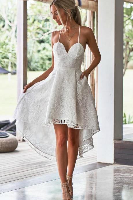 A-Line Spaghetti Straps High Low White Lace Prom Dress with Pockets