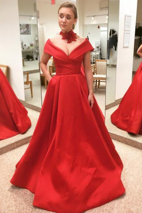 Off the Shoulder Red Prom Dresses with Pockets,Red Quinceanera Dress for Junior