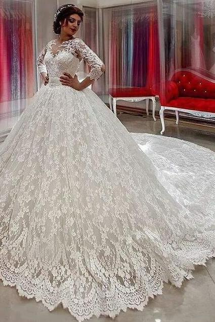 Beauty Wedding Dress,Ball Gown Wedding Dresses 2018 ,Long Sleeves Bridal Gowns