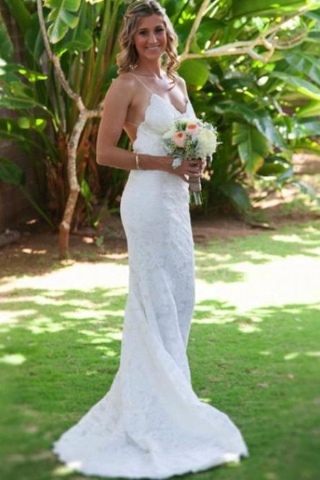 Spaghetti straps Sexy Backless Beach Wedding Dresses,Long Wedding Dresses