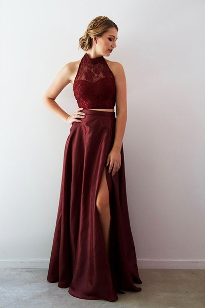 Two Piece High Neck Burgundy Long Prom Dress with Side Slit