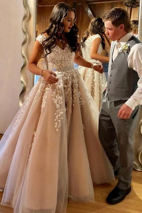 A Line Lace Appliqued Beaded Prom Dresses Long, Cheap Nude Quinceanera Dress Cap Sleeves