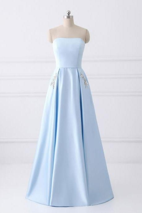 A-line Strapless Long Cheap Prom Dresses with Pocket, Light Blue Satin Prom Gowns