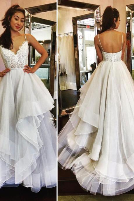 white lace tulle long prom dress, white lace evening dress for teens