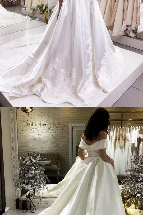 Off The Shoulder Sweep Train Satin Wedding Dresses Lace Embroidery