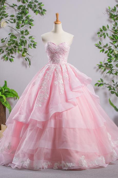 Sweetheart Pink A-line Lace Cheap Evening Prom Dresses, Sweet 16 Dresses