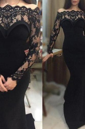Black Lace Prom Dress,Long Prom Dresses,Charming Prom Dresses,Evening Dress Prom Gowns, Formal Women Dress,prom dress