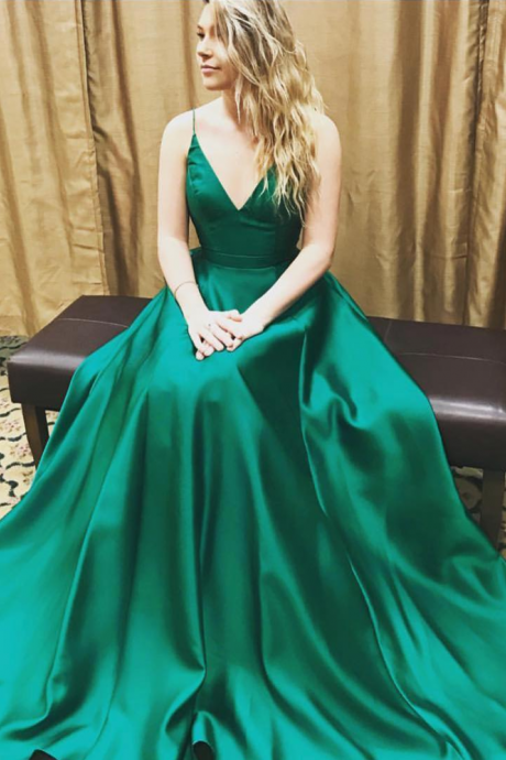 v neck long green satin ball gowns prom dresses 2017 Prom Dresses