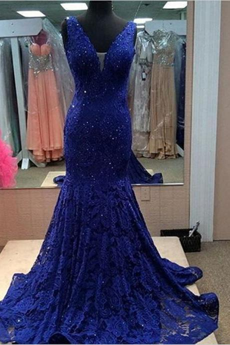 Royal blue prom dress, gorgeous prom dress, off shoulder lace prom dress, V-neck prom dress, elegant prom dress, inexpensive evening gown, mermaid prom dress