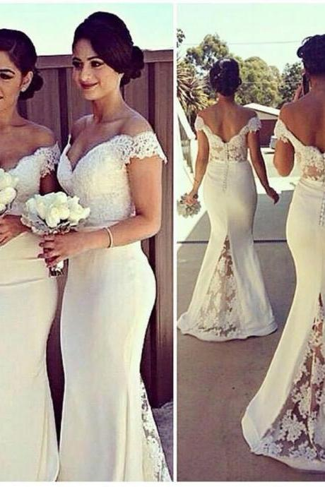 795f2b852a0 Custom Made White Mermaid Off Shoulder Lace Prom Dresses