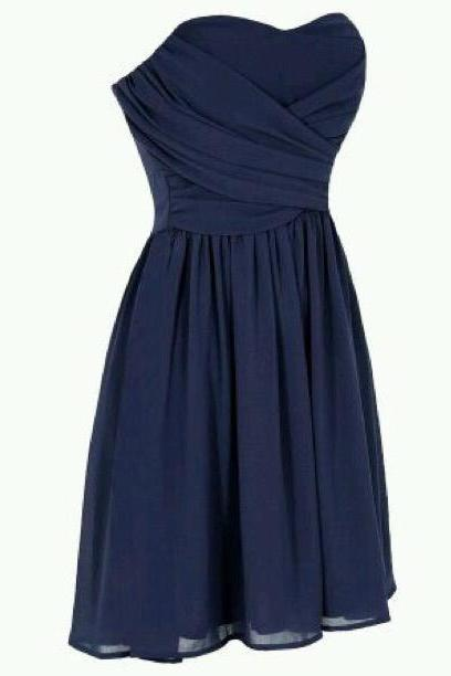 Custom Made Sweetheart Neck Short Prom Dresses, Navy Blue Prom Dresses