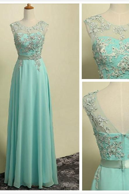 Custom Made A Line Light Blue Round Neckline Long Lace Prom Dresses, Lace Formal Dresses