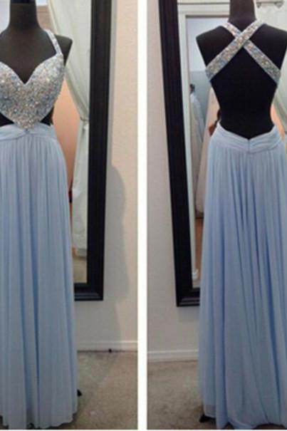 Custom Made Long Backless Prom Dresses, Long Backless Evening Dresses